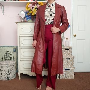 Vintage 70s Auburn Brown Leather Trench Coat